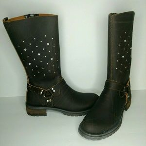 Aldo Italy Rhinestone Studded Leather Moto Boots